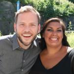 Partileder i SV Audun Lysbakken og partiets førstekandidat i Kristiansand, Melissa Lesamana.   Foto: Glenn Th. Faannessen