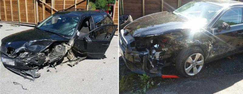 Slik så skadene ut på bilen etter sammenstøtet med BMW-en på E18 fredag kveld. Foto: Viking redningstjeneste