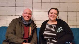 Bookingansvarlig Jon Gotteberg og festivalleder Anna Willrodt fra Sørveiv. | Foto: Glenn Th. Faannessen